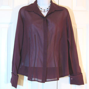 Ann Taylor | Sheer French Cuff Blouse